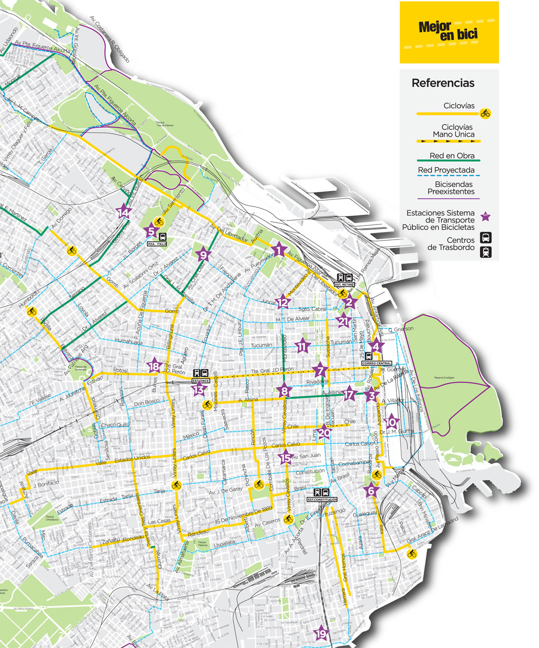 the . bicycle route map  buenos aires discovery
